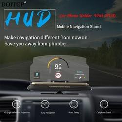 Wyświetlacz parametrów wozu na szybie wyświetlacz Head Up HUD uniwersalny uchwyt telefonu komórkowego wielofunkcyjny 6.5 Cal dla iphone'a dla Samsung GPS 517.67 w Wyświetlacz projekcyjny od Samochody i motocykle na