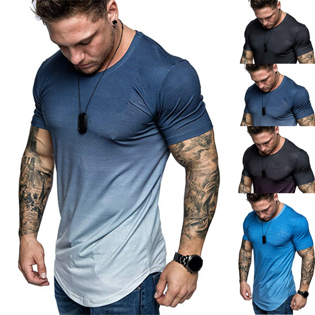 TShirts Men's Summer Slim Fit Casual Gradient Color Large Size Short Sleeve Top Blouse T Shirt Men Fashion High Quality C0619