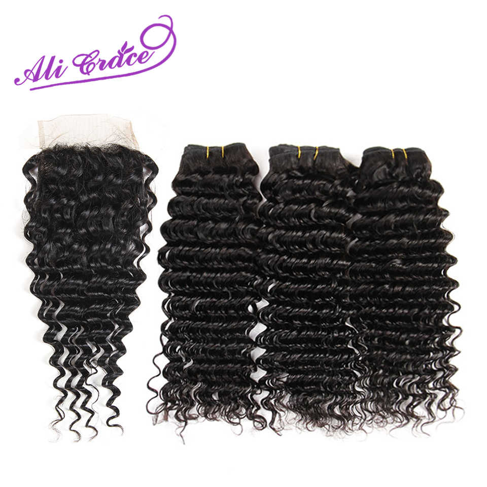 Ali Grace Hair Peruvian Deep Wave 3 Bundles Human Hair With Lace Closure 4*4 Free Middle Part Natural Color Remy Hair