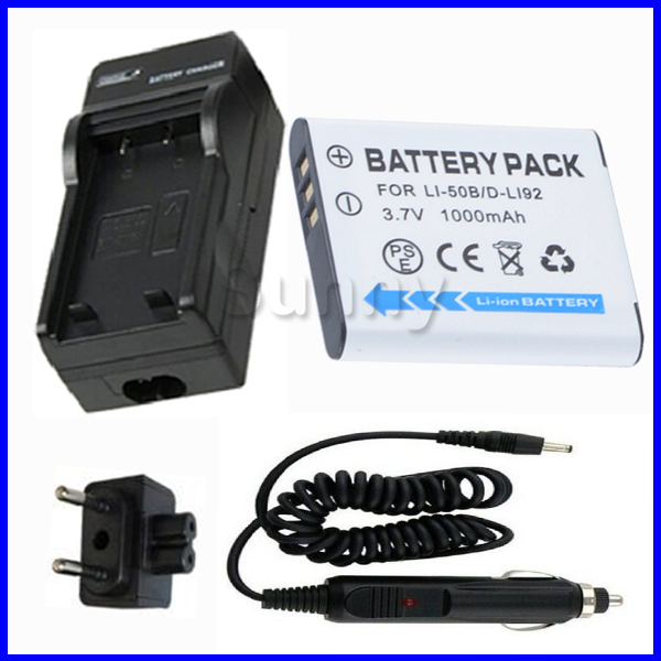 LI-50B Battery + Charger for Olympus XZ-1,SP-800UZ,SP-810UZ,SZ-10,SZ-11,SZ-12,SZ-20,SH-21,SH-25MR,SZ-30MR,SZ-31MR Digital Camera