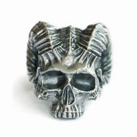 USA Located 925 Sterling Silver Horned Demon Skull Ring Mens Biker Punk Ring TA114 4PX