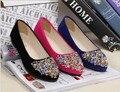 Новый 2014 бренд острым носом горный хрусталь женская обувь для женщин и женщин весна лето на плоской подошве # алмаз A01