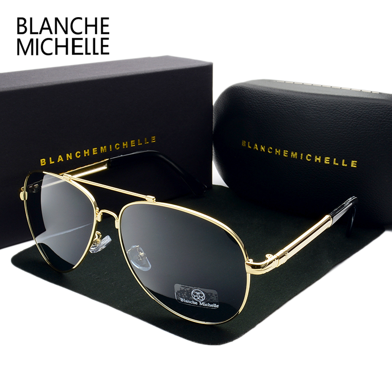 2018 High Quality Memory Metal Big Frame Pilot Sunglasses Men Polarized UV400 Sun Glasses Man Brand Driving Oculos With Box