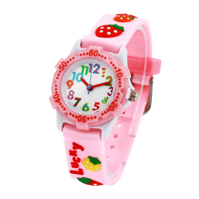 Strawberry Children Cartoon Sports Kids Watches Silicone Quartz Cute Watch For B
