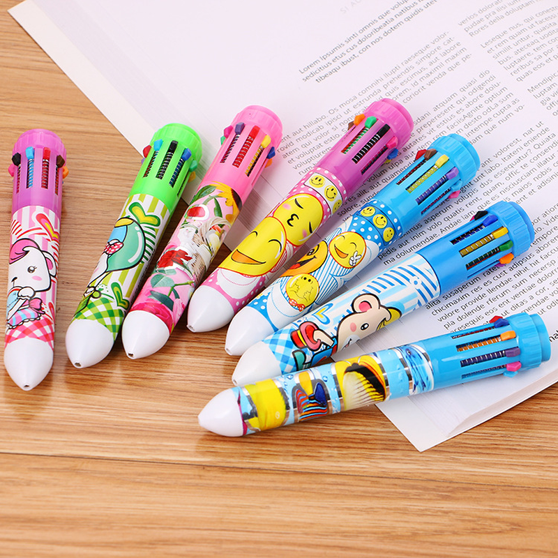 100 Pcs Creative Stationery 10 Color Ballpoint Pen Student Prizes Multi-functional Color Cute Learning Painting Graffiti Pen