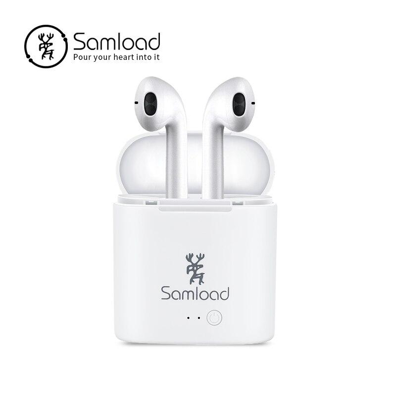 Samload cuffia auricolare Senza Fili di Bluetooth Della Cuffia i7s TWS Aria Baccelli Casella di Ricarica per il iphone di Apple 6 7 8 Samsung Xiaomi sony