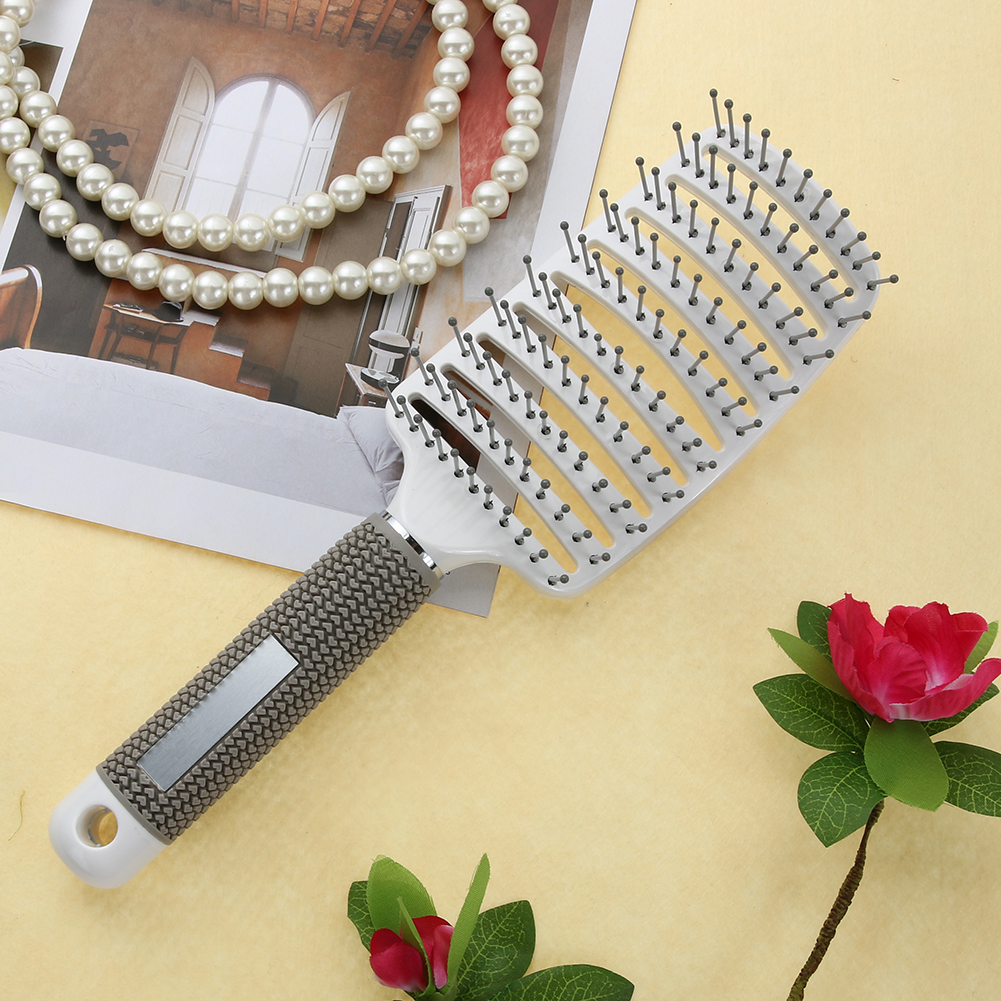 1pc Ribs Comb Hairbrush Women Wet Hair Brush Professional Styling Plastic Nylon Big Bent Comb Hairdressing Styling Tool #4
