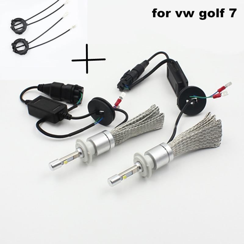 ФОТО 2pcs h7 80w 9600lm led headlight headlamp for golf 7 + 2pc h7 led bulb clip retainer adapter holder socket for vw golf 7