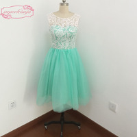 2017 Homecoming Dresses Lace Sheer Crew Tulle Mint Short Cocktail Dresses Graduation Dresses Real Picture