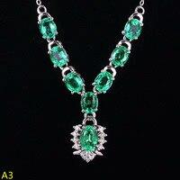KJJEAXCMY бутик ювелирных изделий, 925 чистого серебра, инкрустированные натуральный бабушки изумруд женский кулон Цепочки и ожерелья