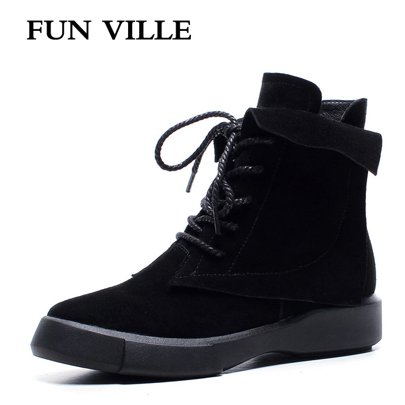 FUN VILLE New 2017 Women Ankle Boots High quality cow suede Flat Martin boots black winter shoes Round Toe Lace-up Size 35-43 z suo brand new winter women motocycle boots leather lace up ankle martin boots shoes black brown high quality