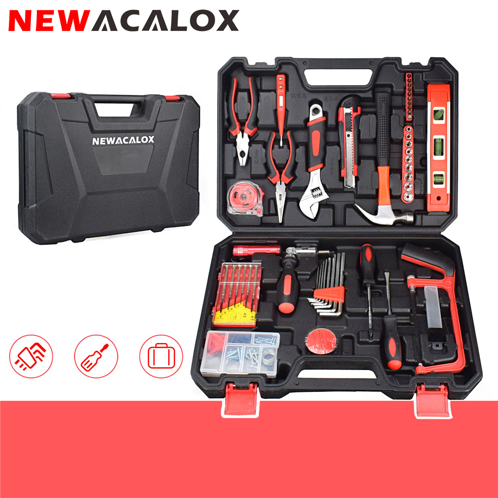 NEWACALOX 110pcs/lot Household Hand Tool Kit Hardware Repair Tool Set with Plastic Toolbox Screwdriver Ratchet Wrench Pliers Saw 71 in 1 household decoration hand tool kit bike repairing kit electric drill screwdriver pliers wrench saw knife socket bit