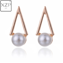 XZP Simple Stud Earrings Personality Trend Push-back Triangle with Pearl Charms Wholesale Jewelry Womens Gift