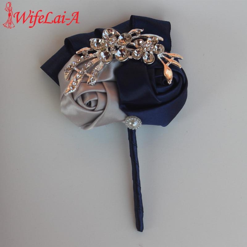 WifeLai-A Navy Blue Silver Bouquet Corsage Diamond Rose Tilbehør til Bryllup Brud og Brudgom Farve Valgfri X1103