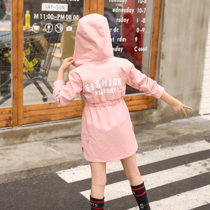 Image 4 - Children Clothing Baby Girls Clothing 2018 Spring and Autumn New Leisure Girls Coat Letter Movement, Hooded WindbreakerJackets & Coats   -