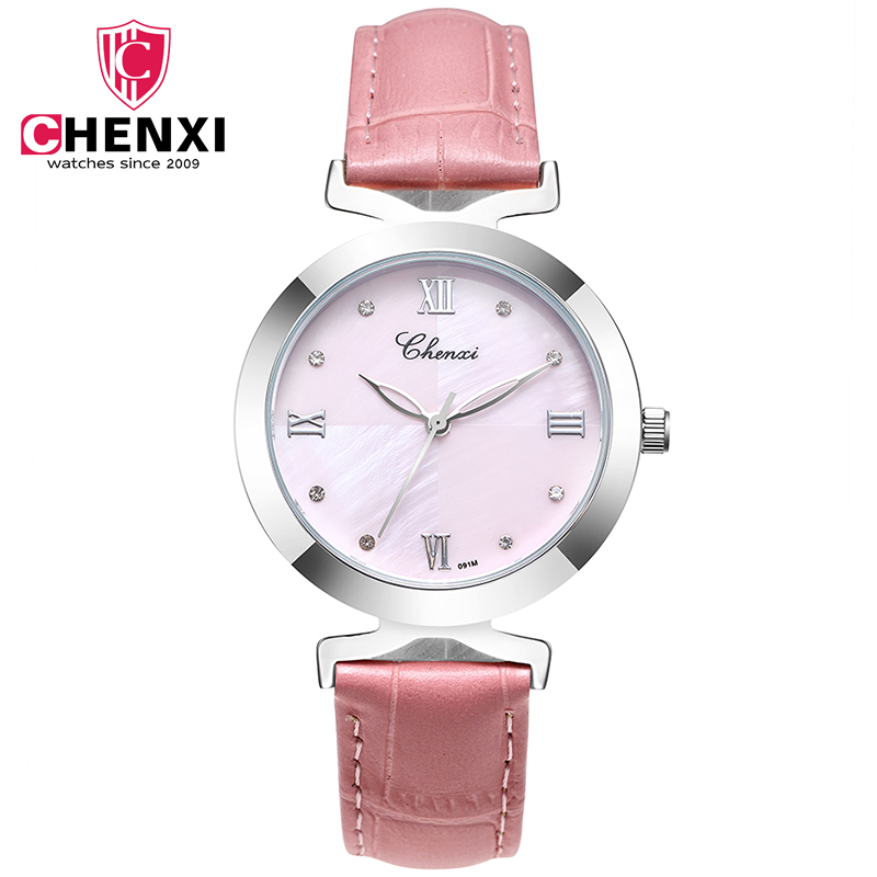 New Arrival CHENXI Ladies Watch Rhinestones Roman Number Dial Fashion Leather Strap Casual Women's Quartz Wristwatch Waterproof new arrival bamboo men wristwatch classic arabic number dial genuine leather band strap trendy gift quartz watch