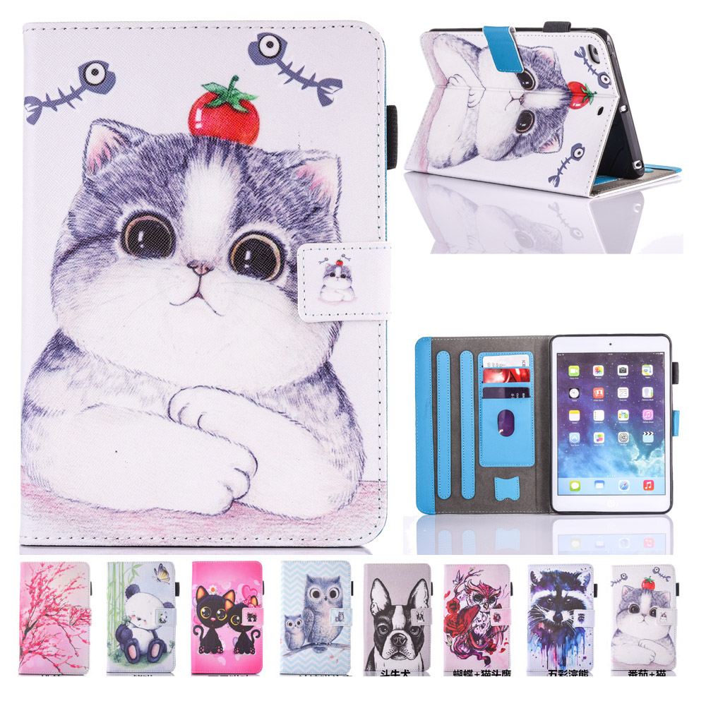 For iPad Air 2 Case Cover Stylish New Kids Cat Printed PU Leather Kickstand Wallet Case for iPad Air 2 iPad 6 with Card Slot