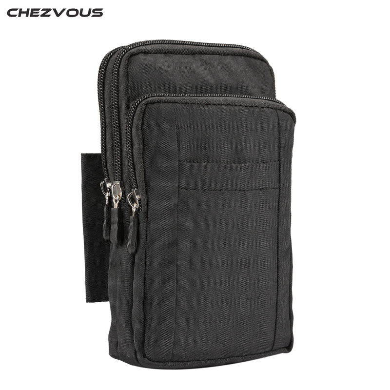 CHEZVOUS Universal Waterproof Nylon Cell Phone Pouch for redmi 5 plus note 4x Outdoor Waist Phone Bags For All Below 7.0 inch