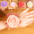 (10pcs/lot) Wedding Supplies Hand Flower Bridesmaid Silk Rose Wrist Flowers Artificial Bride Flowers For Wedding Decoration