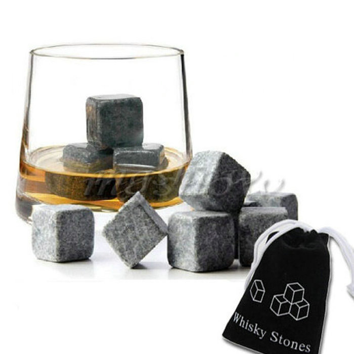 9pcs/lot Whisky Ice Stones Drinks Cooler Cubes Beer Rocks Granite Pouch Drink Cooling Ice Melts Wholesales