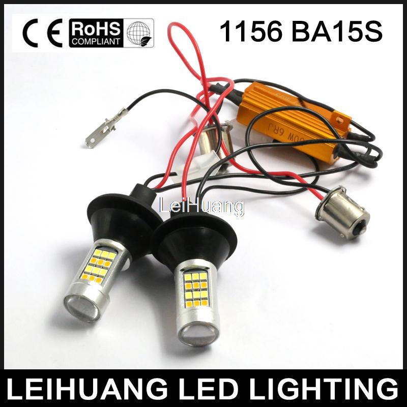 2 pz 1156 S25 Dual-Color Switchback LED Segnale di Girata Della Luce Con Funzione DRL Kit
