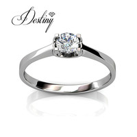 Destiny Jewellery CARING RING Silver Ring Made With Swarovski Zirconias 925 Sterling Silver