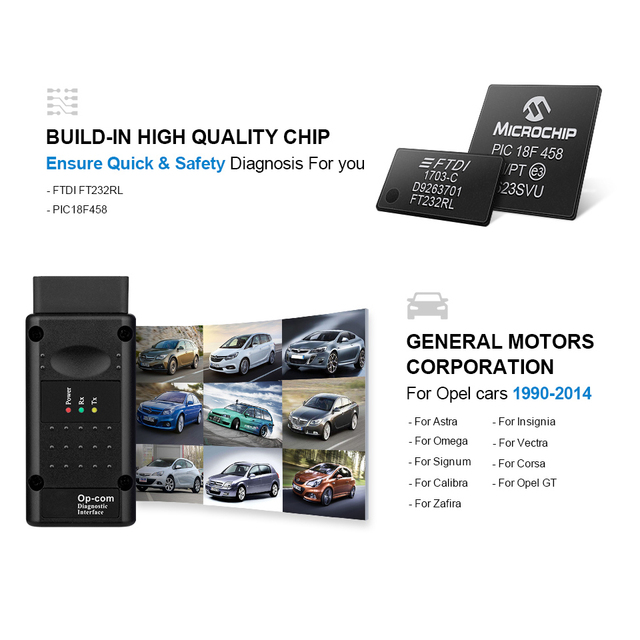 op com V1.65 V1.78 V1.99 with PIC18F458 FTDI op-com OBD2 Auto Diagnostic tool for Opel OPCOM CAN BUS V1.7 can be flash update