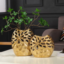Nordic home decoration flower vases ornaments gold Hollow ceramic vase living room ornaments vases for wedding decor nordic modern geometric gold ceramic vase creative vases for flower living room tabletop wedding vase home decorative ornaments