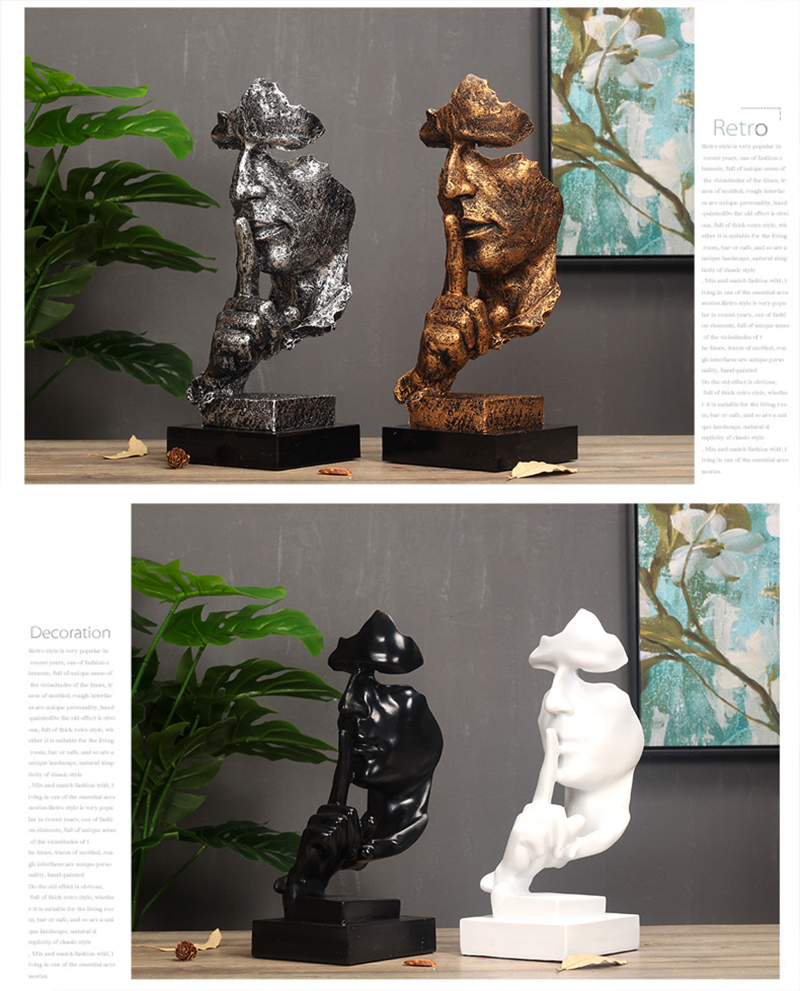 Modern Art Resin Decoration Craft Abstract Sculpture Figurine Ornaments Silence Is Gold Office Home Decoration Accessories