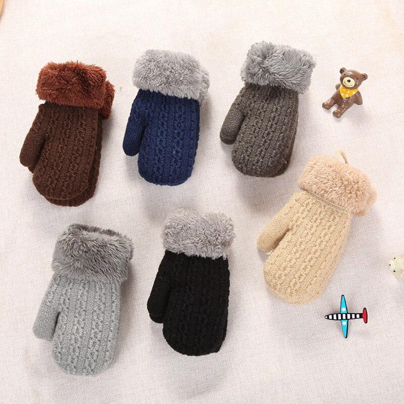 2-4 Years Winter Kids Gloves Boys Girls Plus Velvet Knitted Gloves Fingerless Plush Warm Mittens Solid Children Gloves