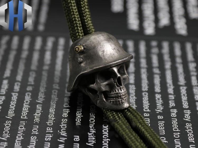 Огорченный Стерлинговое серебро латунь инкрустированный немецкий нож для шлема кулон EDC брелок Аксессуары для инструментов нож бусы - 4