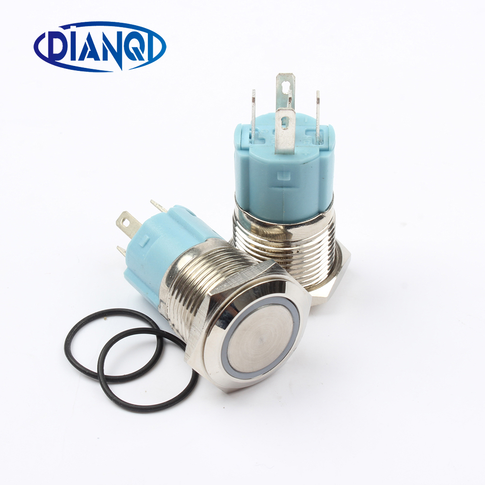 Free shipping 16mm brass Push Button Switch reset flat round illumination ring Momentary reset 1NO 1NC 16HX.F 16mm momentary push button switch press the reset switch momentary on off push button micro switch normally open no reset