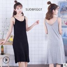 Хит, женская повседневная сексуальная ночная рубашка с ремешком, однотонная Домашняя одежда, размер XL-XXXL