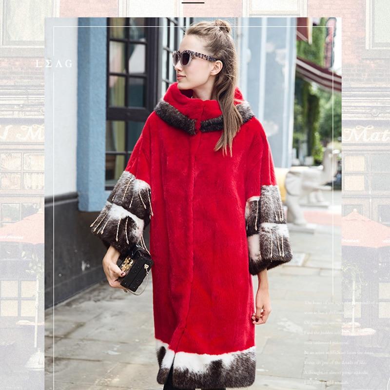 LVCHI 2019 Boho Nyata Mink Mantel Wanita Fashion Merah Lebar Pinggang - Pakaian Wanita - Foto 2