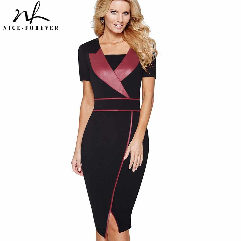 081e9a64b338 Nice-forever Vintage Mature Leather Patchwork Short Sleeve Casual Wear to  Work Bodycon Pencil Office