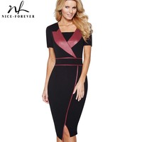 Nice Forever Vintage Mature Leather Patchwork Square Neck Short Sleeve Wear To Work Bodycon Pencil Office