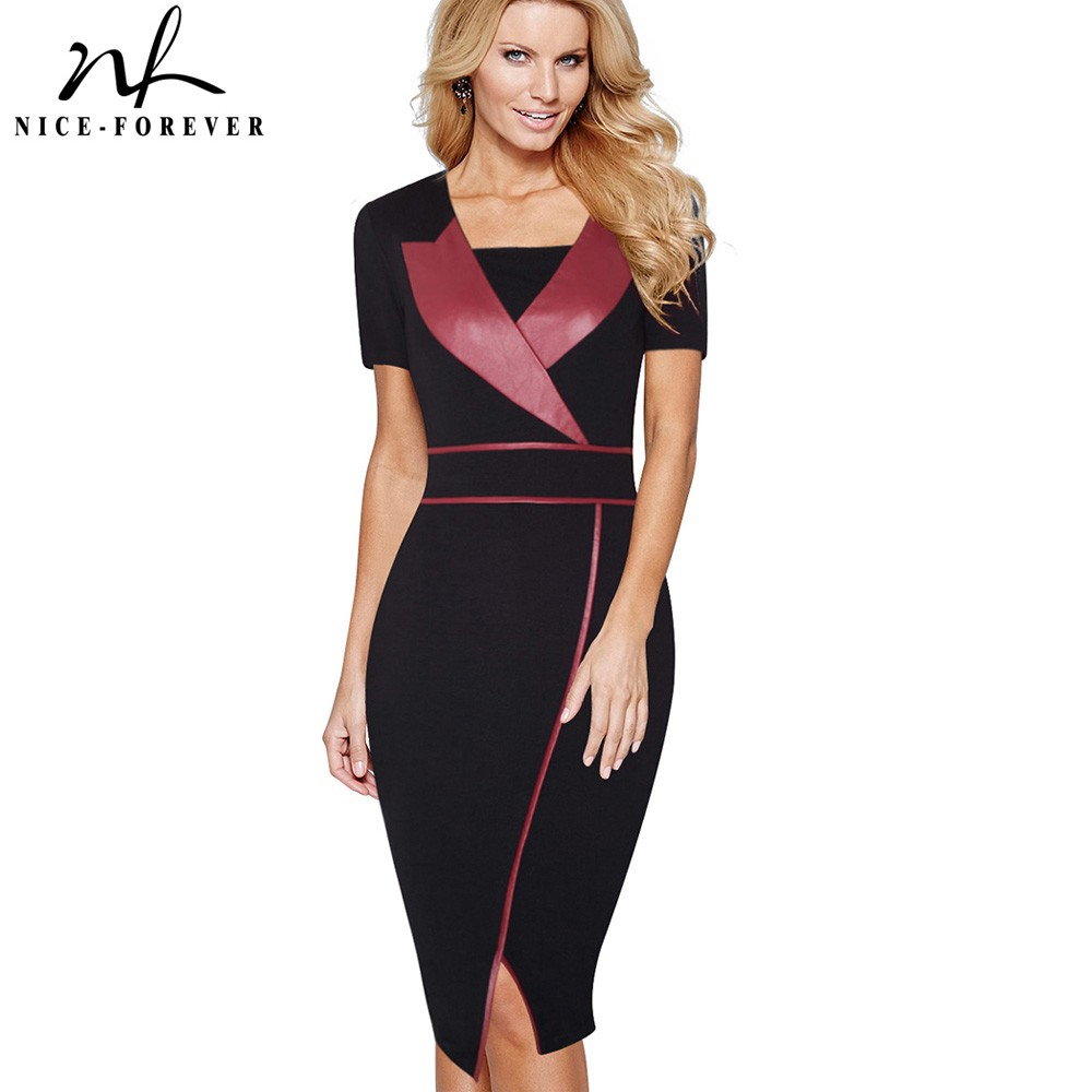 Nice-forever Vintage Mature Leather Patchwork Short Sleeve Casual Wear to Work Bodycon Pencil Office Woman Slim Summer DressB366