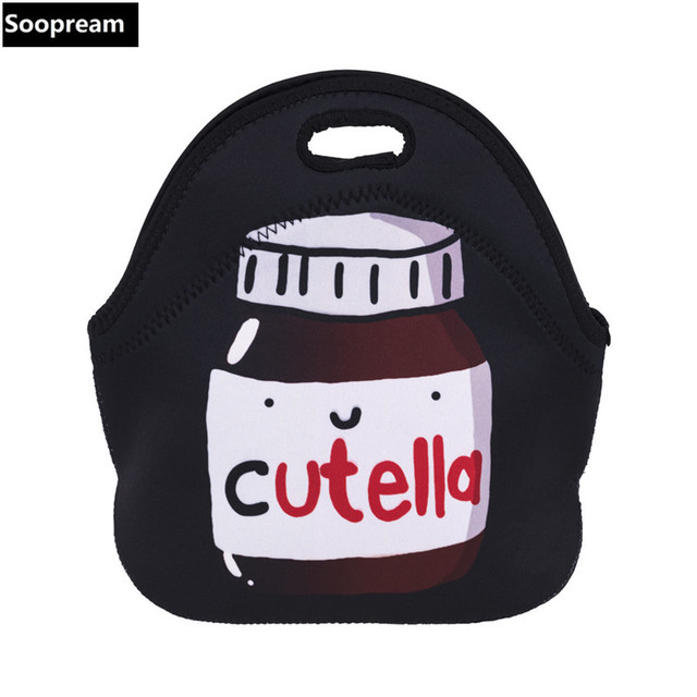Free Shipping Hot Cutella Thermal Insulated Neoprene Lunch Bag For Women Kids Lunchbags With Zipper Cooler