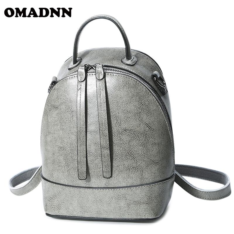OMADNN Fashion Women Backpack High Quality Mini Youth Leather Backpacks for Teenage Girls Female School Shoulder Bag Bagpack