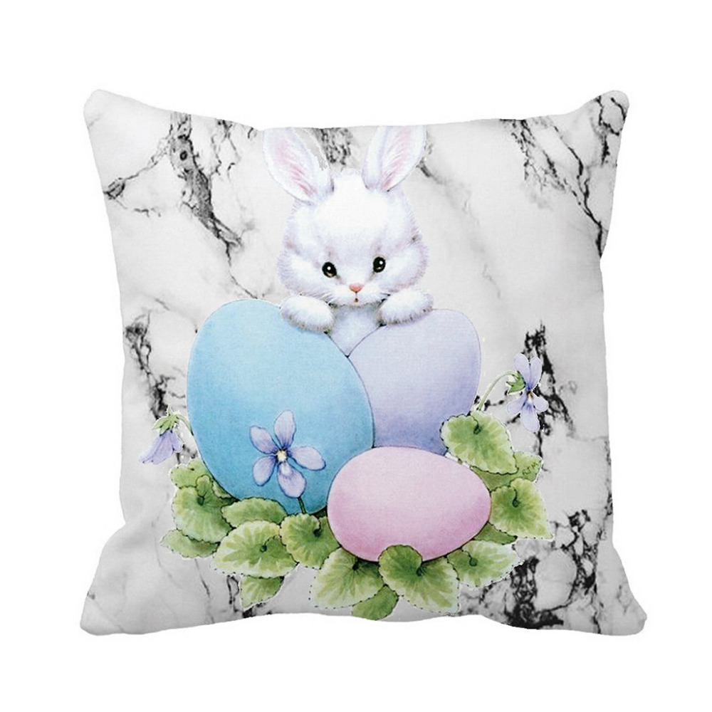 Active Easter Pillow Case Sofa Bed Home Decoration Festival Linen Cotton Cushion Cover Easter Rabbit Easter Egg Printed Pillow Cover Cushion Cover