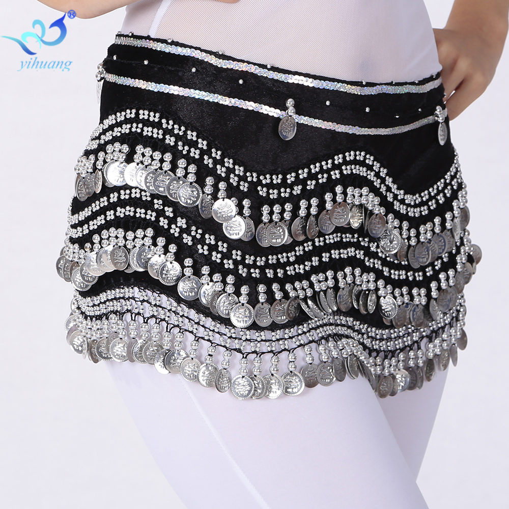 Gypsy Belly Dancing Hip Scarf Mesir Belly Dance Costume Skirt Indian Dance Belt dengan Syiling untuk Latihan Prestasi