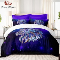 4Pcs Comforter Covers Bed Decoration Galaxy Bedding Set Coverlet with Pillow Covers Lion US Twin