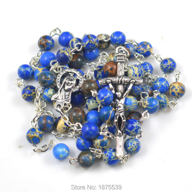 Fashion blue imperial jasper expensive bead religious rosary