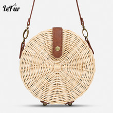 8094c077fa4a LEFUR 2018 New Women Straw Bag Handmade Summer Rattan Handbag Round Female  Crossbody Shoulder Bags Casual