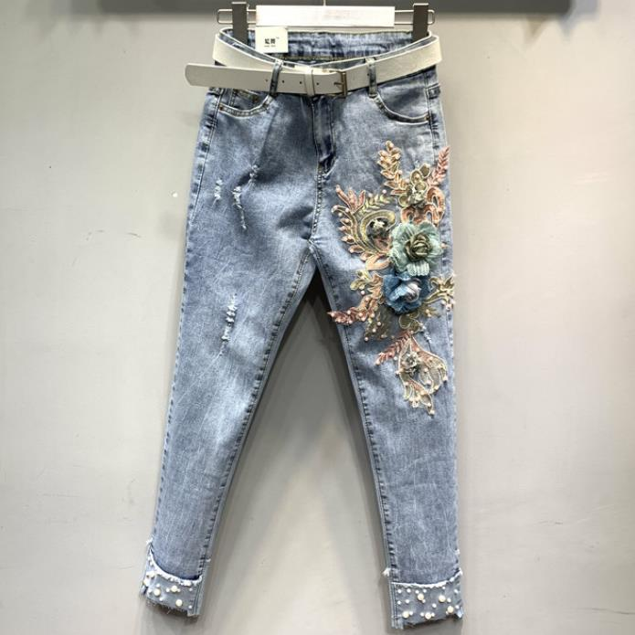 Jeans Women 2019 Summer Fashion Beaded Embroidered Flowers Skinny Ankle Length Pencil Jeans Plus Size