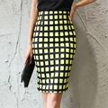 Fashion Autumn 2016 New Women Skirt Plus Size High Waist Work Slim Pencil Skirt Open Fork Sexy Office Lady White Plaid Skirts