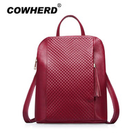Women Backpack High Quality Plaid Genuine Cow Leather Mochila Escolar School Bags For Teenagers Girls Top