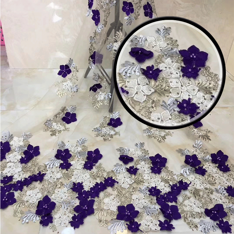 Wholesales High Quality 3D Applique lace2018African French net beaded Stones Lace Fabric For Christmas Wedding Dress MJKY3155