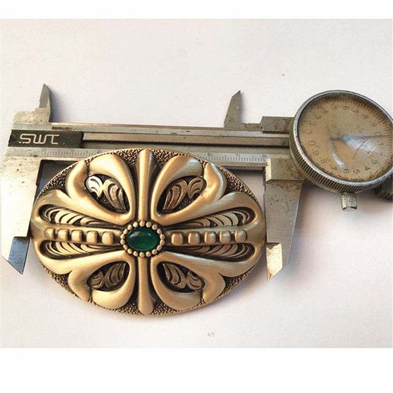 Pure Copper Shiny Vintage Antique Belt Buckle Inlay Jade Western Cowboy Mens Fashion Fine Accessory
