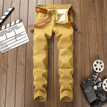 2017 new men motociclista jeans 3 colors slim jeans pants stretch Skinny creases fashion high-quality jeans men 7119